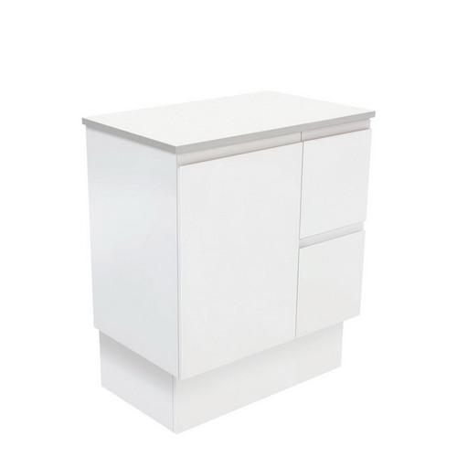 Fingerpull 750 Satin White Cabinet on Kick Board 1 Door 3 Left Drawer [180613]