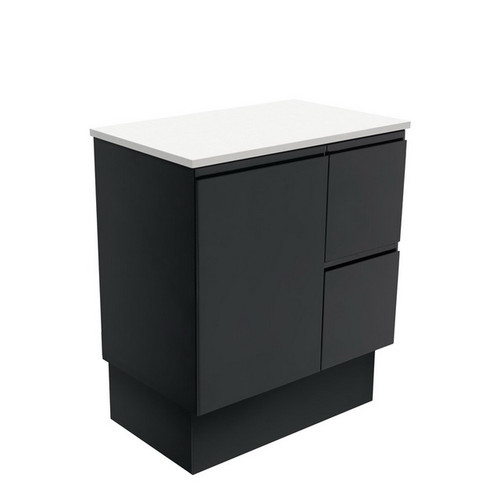 Fingerpull 750 Satin Black Cabinet on Kick Board 1 Door 3 Right Drawer [180615]