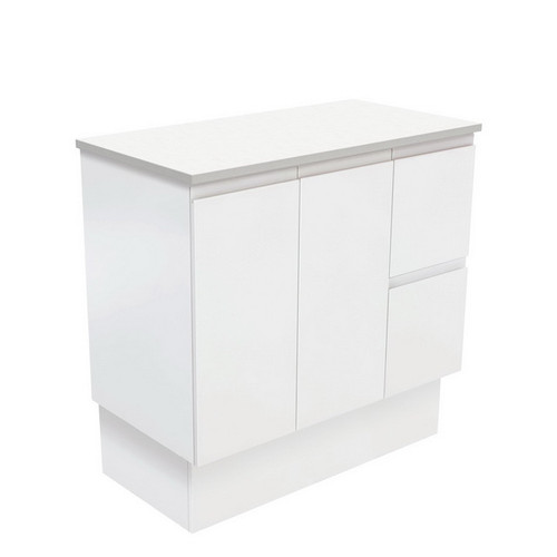 Fingerpull 900 Satin White Cabinet on Kick Board 2 Door 3 Left Drawer [180627]