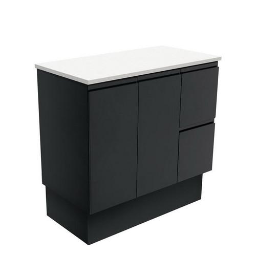Fingerpull 900 Satin Black Cabinet on Kick Board 2 Door 3 Right Drawer [180629]