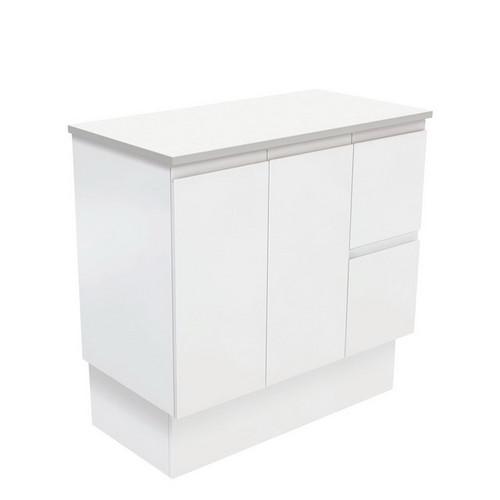 Fingerpull 900 Satin White Cabinet on Kick Board 2 Door 3 Right Drawer [180630]