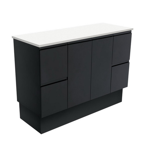 Fingerpull 1200 Satin Black Cabinet on Kick Board 2 Door 6 Drawer [180640]