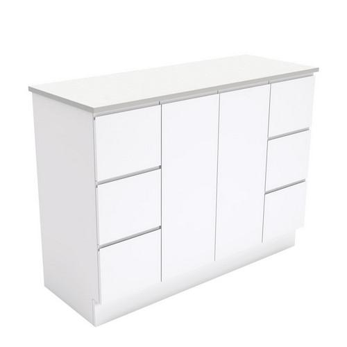 Fingerpull 1200 Satin White Cabinet on Kick Board 2 Door 6 Drawer [180641]