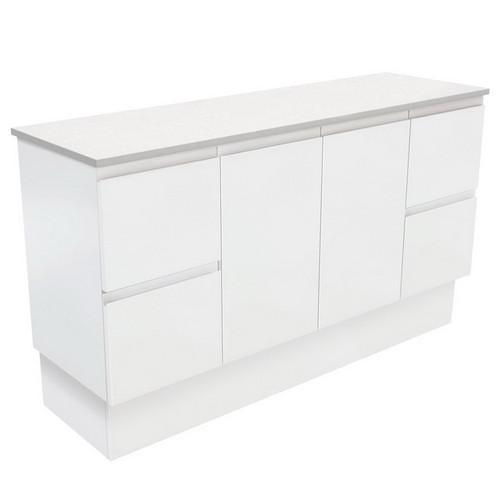 Fingerpull 1500 Satin White Cabinet on Kick Board 2 Door 6 Drawer [180648]