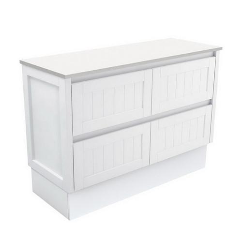 Hampton 1200 Satin White Cabinet on Kick Board 4 Drawer [180656]