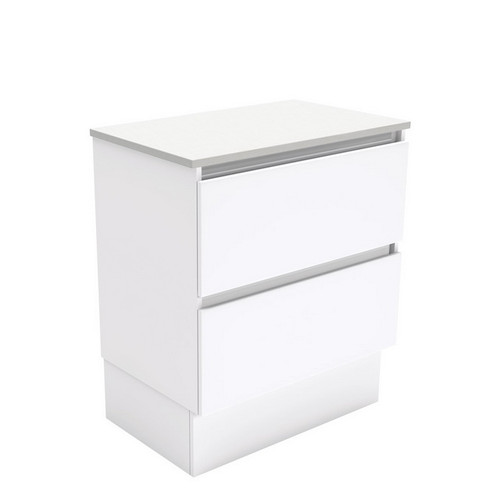 Quest 750 Gloss White Cabinet on Kick Board 2 Drawer [180679]