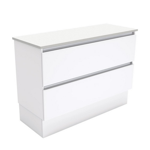 Quest 1200 Gloss White Cabinet on Kick Board 2 Drawer [180683]
