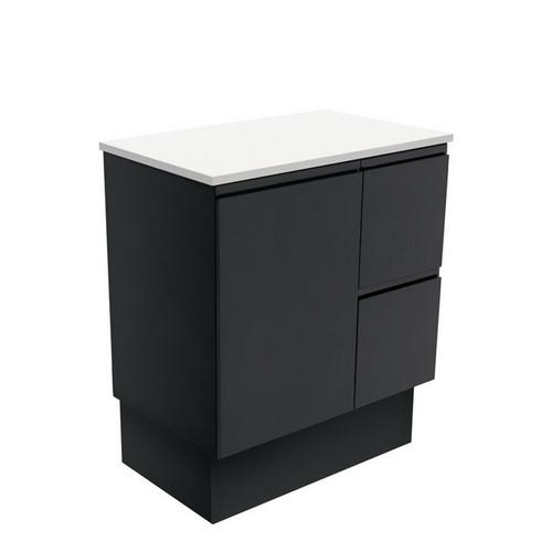Fingerpull 750 Satin Black Cabinet on Kick Board 1 Door 3 Left Drawer [180612]