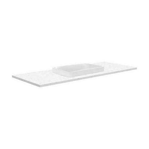 Sarah Bianco Marble 1200 Semi-inset Basin-Top + Fingerpull Satin White Cabinet on Kick Board 1 Tap Hole [191517]