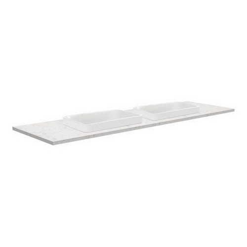 Sarah Bianco Marble 1500 Semi-inset Basin-Top, Double Bowl + Fingerpull Satin White Cabinet on Kick Board 1 Tap Hole [191521]