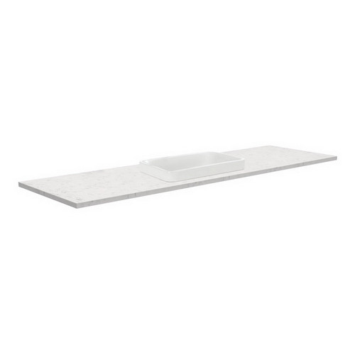 Sarah Bianco Marble 1500 Semi-inset Basin-Top, Single Bowl + Fingerpull Satin White Cabinet on Kick Board 1 Tap Hole [191523]
