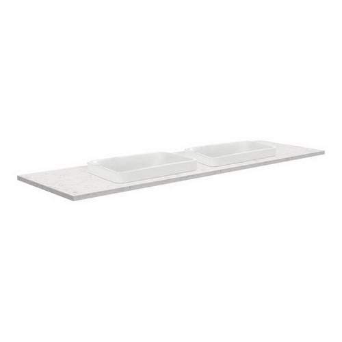 Sarah Bianco Marble 1500 Semi-inset Basin-top, Double Bowl + Fingerpull Satin White Cabinet Wall-Hung 1 Tap Hole [191525]