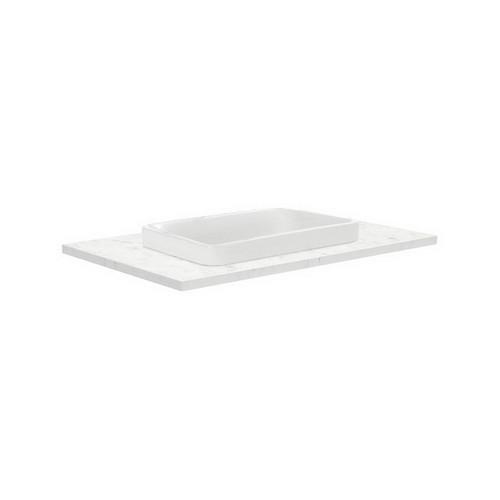 Sarah Bianco Marble 750 Semi-inset Basin-Top + Fingerpull Satin Black Cabinet Wall-Hung 1 Door 2 Left Drawer 1 Tap Hole [191504]