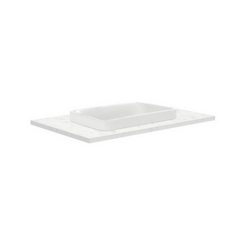 Sarah Bianco Marble 750 Semi-inset Basin-Top + Fingerpull Satin White Cabinet Wall-Hung 1 Door 2 Right Drawer 1 Tap Hole [191507]