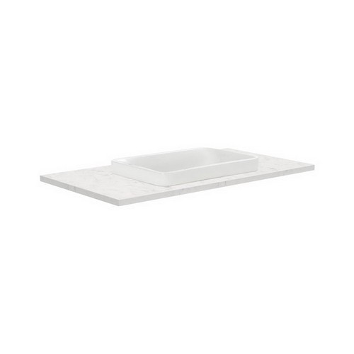 Sarah Bianco Marble 900 Semi-inset Basin-Top + Fingerpull Satin White Cabinet on Kick Board 2 Door 2 Left Drawer 1 Tap Hole [191509]