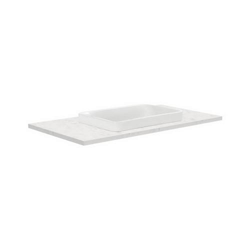 Sarah Bianco Marble 900 Semi-inset Basin-Top + Fingerpull Satin White Cabinet on Kick Board 2 Door 2 Right Drawer 1 Tap Hole [191511]