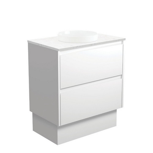 Reba Bianco Marble 750 Semi-Inset Basin-Top + Amato Satin White Cabinet with Solid Side Panels on Kick Board 1 Tap Hole [191582]