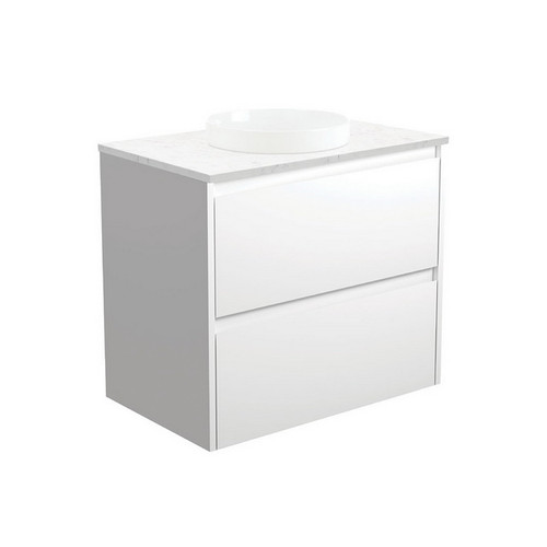 Reba Bianco Marble 750 Semi-Inset Basin-Top + Amato Satin White Cabinet with Solid Side Panels Wall-Hung 1 Tap Hole [191583]
