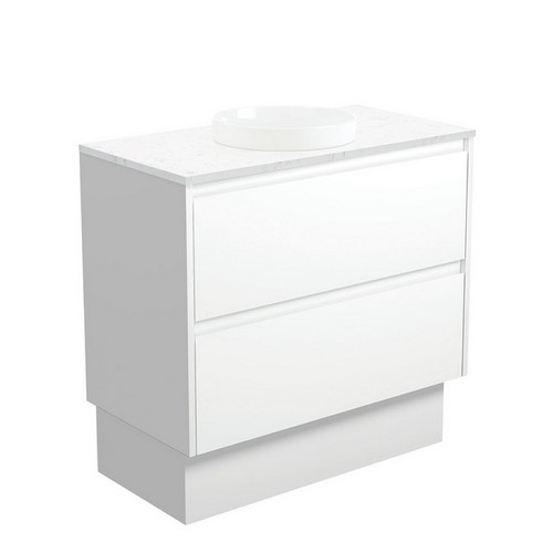Reba Bianco Marble 900 Semi-Inset Basin-Top + Amato Satin White Cabinet with Solid Side Panels on Kick Board 1 Tap Hole [191584]