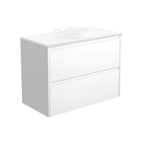 Reba Bianco Marble 900 Semi-Inset Basin-Top + Amato Satin White Cabinet with Solid Side Panels Wall-Hung 1 Tap Hole [191585]