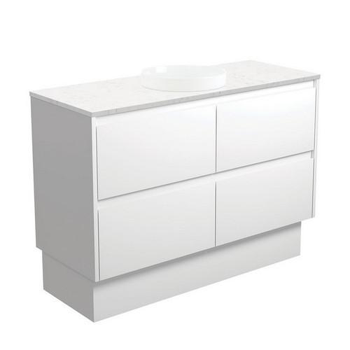 Reba Bianco Marble 1200 Semi-Inset Basin-Top + Amato Satin White Cabinet with Solid Side Panels on Kick Board 4 Drawer 1 Tap Hole [191586]
