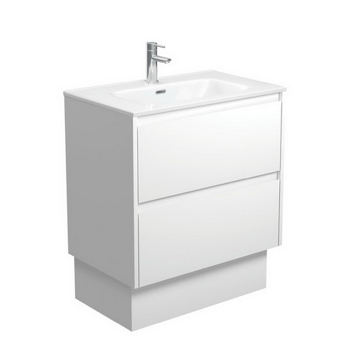 Joli 750 Ceramic Moulded Basin-Top + Amato Satin White Cabinet on Kick Board with Solid Panels 2 Drawer 1 Tap Hole [191588]