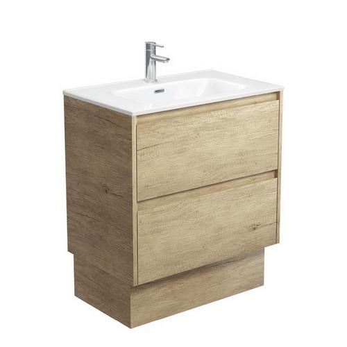 Joli 750 Ceramic Moulded Basin-Top + Amato Scandi Oak Cabinet on Kick Board with Solid Panels 2 Drawer 1 Tap Hole [191590]