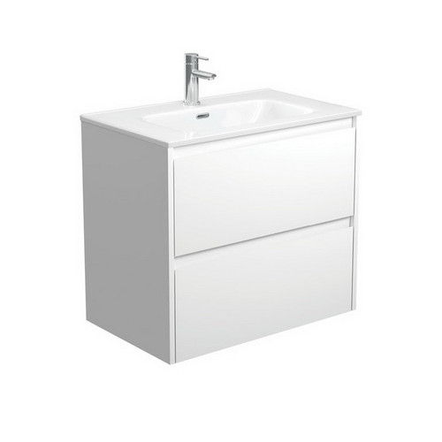 Joli 750 Ceramic Moulded Basin-Top + Amato Satin White Cabinet Wall-Hung with Solid Panels 2 Drawer 1 Tap Hole [191591]
