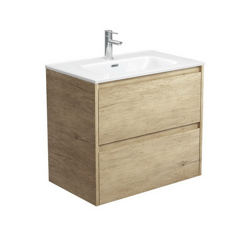 Joli 750 Ceramic Moulded Basin-Top + Amato Scandi Oak Cabinet Wall-Hung with Solid Panels 2 Drawer 1 Tap Hole [191593]