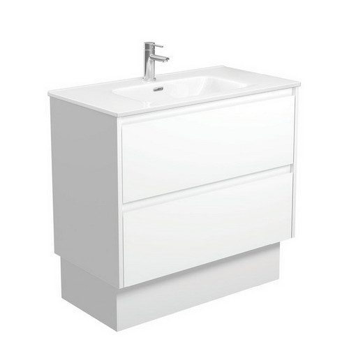 Joli 900 Ceramic Moulded Basin-Top + Amato Satin White Cabinet on Kick Board with Solid Panels 2 Drawer 1 Tap Hole [191594]