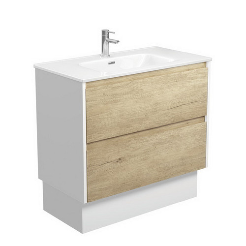 Joli 900 Ceramic Moulded Basin-Top + Amato Scandi Oak Cabinet on Kick Board with Satin White Solid Side Panels 2 Drawer 1 Tap Hole [191595]