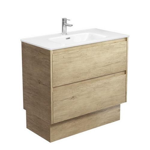 Joli 900 Ceramic Moulded Basin-Top + Amato Scandi Oak Cabinet on Kick Board with Solid Panels 2 Drawer 1 Tap Hole [191596]