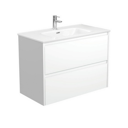 Joli 900 Ceramic Moulded Basin-Top + Amato Satin White Cabinet Wall-Hung with Solid Panels 2 Drawer 1 Tap Hole [191597]