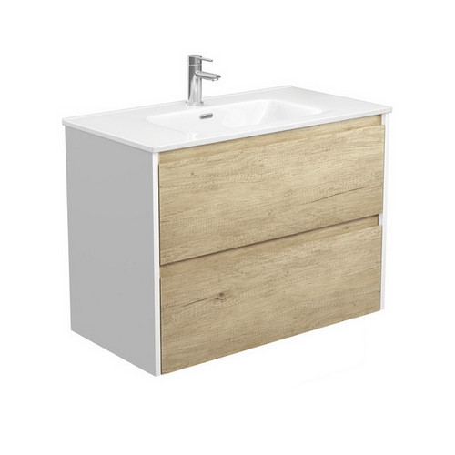 Joli 900 Ceramic Moulded Basin-Top + Amato Scandi Oak Cabinet Wall-Hung with Satin White Solid Side Panels 2 Drawer 1 Tap Hole [191598]