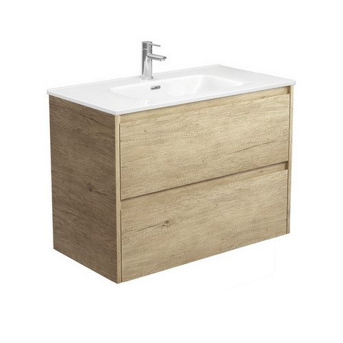 Joli 900 Ceramic Moulded Basin-Top + Amato Scandi Oak Cabinet Wall-Hung with Solid Panels 2 Drawer 1 Tap Hole [191599]