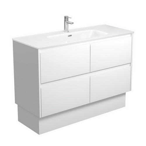 Joli 1200 Ceramic Moulded Basin-Top + Amato Satin White Cabinet on Kick Board with Solid Panels 4 Drawer 1 Tap Hole [191600]