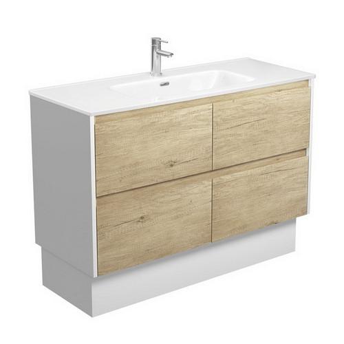 Joli 1200 Ceramic Moulded Basin-Top + Amato Scandi Oak Cabinet on Kick Board with Satin White Solid Side Panels 4 Drawer 1 Tap Hole [191601]