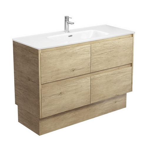 Joli 1200 Ceramic Moulded Basin-Top + Amato Scandi Oak Cabinet on Kick Board with Solid Panels 4 Drawer 1 Tap Hole [191602]