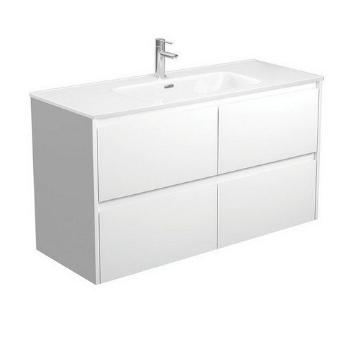 Joli 1200 Ceramic Moulded Basin-Top + Amato Satin White Cabinet Wall-Hung with Solid Panels 4 Drawer 1 Tap Hole [191603]