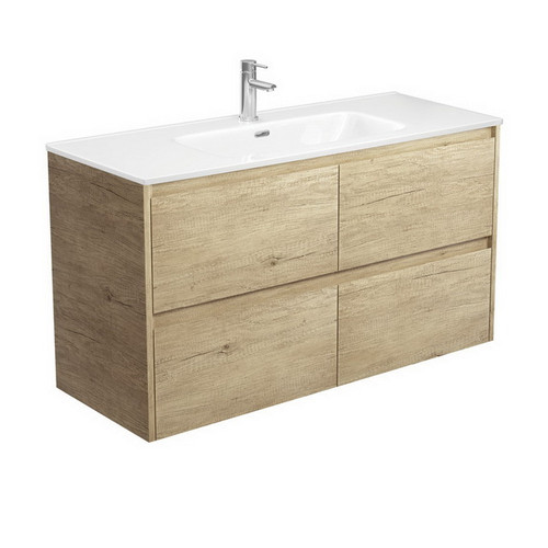Joli 1200 Ceramic Moulded Basin-Top + Amato Scandi Oak Cabinet Wall-Hung with Solid Panels 4 Drawer 1 Tap Hole [191605]