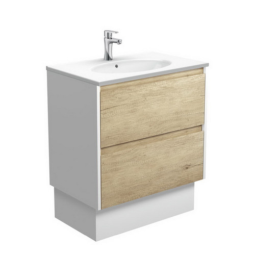 Rotondo 750 Ceramic Moulded Basin-Top + Amato Scandi Oak Cabinet on Kick Board with Satin White Solid Side Panels 2 Drawer 1 Tap Hole [191606]