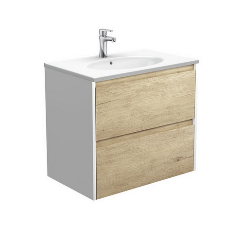 Rotondo 750 Ceramic Moulded Basin-Top + Amato Scandi Oak Cabinet Wall-Hung with Satin White Solid Side Panels 2 Drawer 1 Tap Hole [191607]