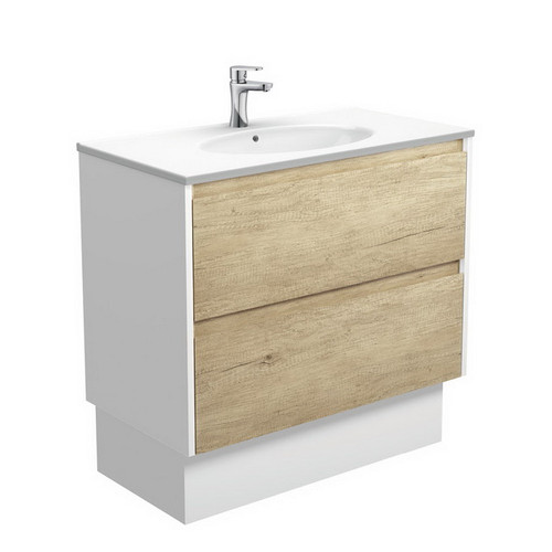 Rotondo 900 Ceramic Moulded Basin-Top + Amato Scandi Oak Cabinet on Kick Board with Satin White Solid Side Panels 2 Drawer 1 Tap Hole [191608]
