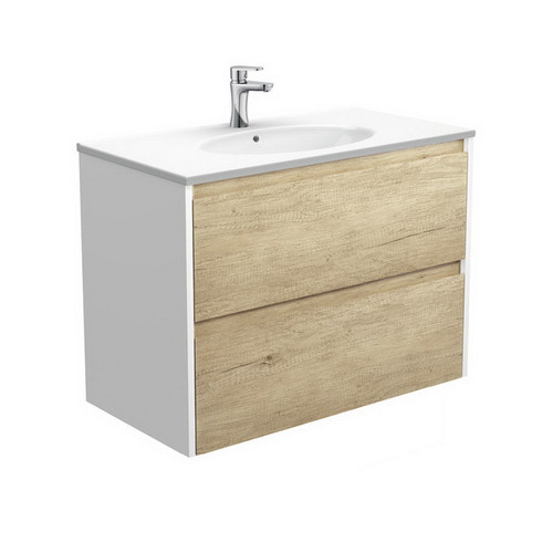 Rotondo 900 Ceramic Moulded Basin-Top + Amato Scandi Oak Cabinet Wall-Hung with Satin White Solid Side Panels 2 Drawer 1 Tap Hole [191609]