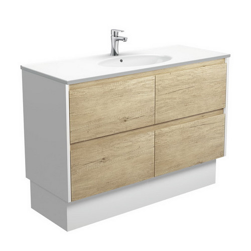 Rotondo 1200 Ceramic Moulded Basin-Top + Amato Scandi Oak Cabinet on Kick Board with Satin White Solid Side Panels 4 Drawer 1 Tap Hole [191610]