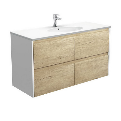 Rotondo 1200 Ceramic Moulded Basin-Top + Amato Scandi Oak Cabinet Wall-Hung with Satin White Solid Side Panels 4 Drawer 1 Tap Hole [191611]
