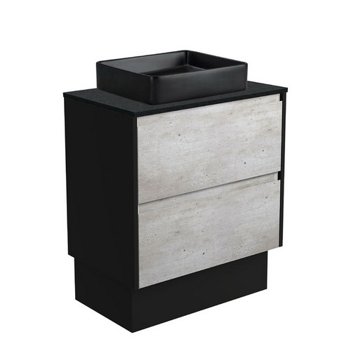 Luciana 750 Black Sparkle Above Counter Basin + Amato Industrial Cabinet on Kick Board with Satin Black Solid Side Panels 2 Drawer 1 Tap Hole [191612]