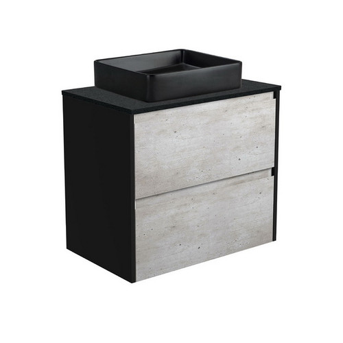 Luciana 750 Black Sparkle Above Counter Basin + Amato Industrial Cabinet Wall-Hung with Satin Black Solid Side Panels 2 Drawer 1 Tap Hole [191613]