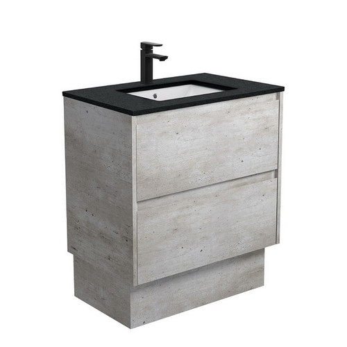 Sarah Black Sparkle Undermount 750 Amato Industrial Cabinet with Solid Side Panels on Kick Board 2 Drawer 1 Tap Hole [191614]