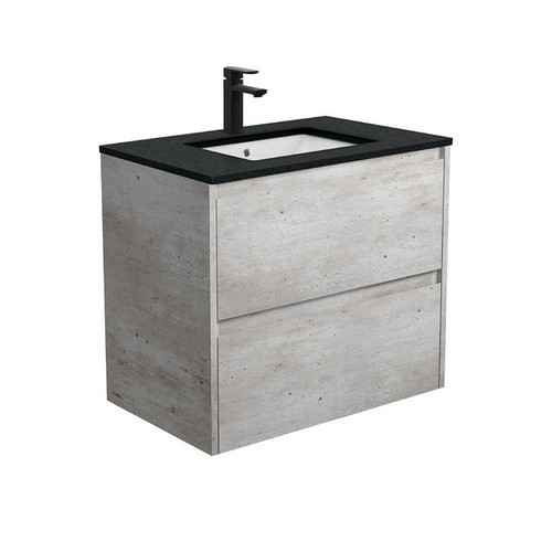 Sarah Black Sparkle Undermount 750 Amato Industrial Cabinet with Solid Side Panels Wall-Hung 2 Drawer 1 Tap Hole [191615]
